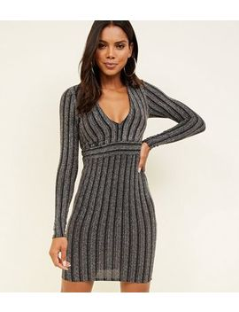 Black Glitter Stripe Long Sleeve Bodycon Dress by New Look