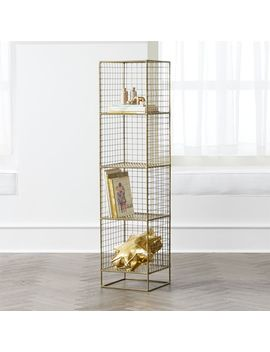 On The Grid Gold 4 Cube Bookcase by Crate&Barrel