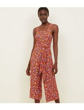 Orange Floral Button Front Culotte Jumpsuit by New Look