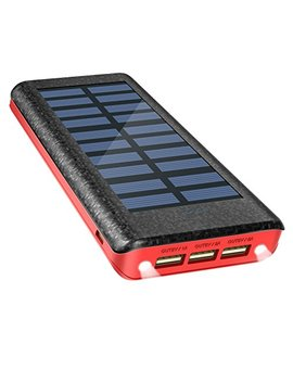 Solar Charger Power Bank 24000m Ah , Olebr Portable Charger Big Capacity External Battery With High Speed Input Port, 2 Led Light And 3 High Speed Usb Charging Ports For I Phone, I Pad, Samsung Galaxy, Android And Other Smart Devices Red by Olebr