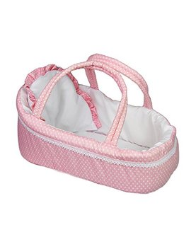 The Magic Toy Shop Pink Baby Dolls Carry Cot Bed With Pillow Carry Handles Sleeping Bag Carrier by The Magic Toy Shop