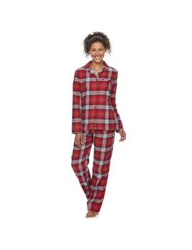 Women's Jammies For Your Families Plaid Flannel Top & Bottoms Pajama Set by Kohl's