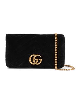 Gg Marmont Micro Schultertasche Aus Gestepptem Samt Und Strukturiertem Leder by Gucci