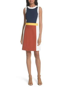 Mya Colorblock Stretch A Line Dress by Tory Burch