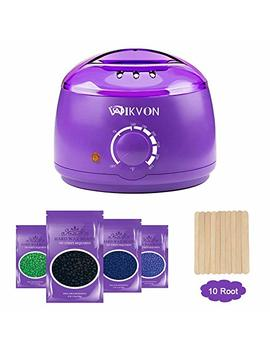 Wax Heater, Electric Wax Warmer Hair Removal Kit With 14 Oz Hard Wax Beans And Waxing Spatulas (Purple) by Wikvon