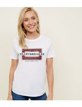Petite White Heartbreaker Leopard T Shirt by New Look