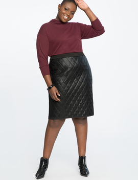 Quilted Faux Leather Pencil Skirt by Eloquii