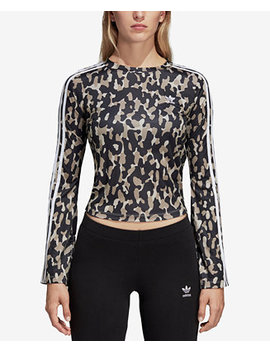 Leoflage Printed Bell Sleeve Cropped Top by Adidas Originals