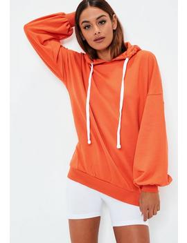 Orange Oversized Puff Sleeve Hoodie by Missguided