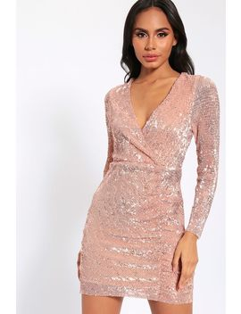Rose Gold Sequin Long Sleeve Bodycon Dress by I Saw It First