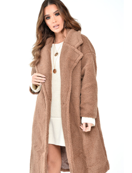 Camel Teddy Long Double Breasted Coat   Miriam by Rebellious Fashion