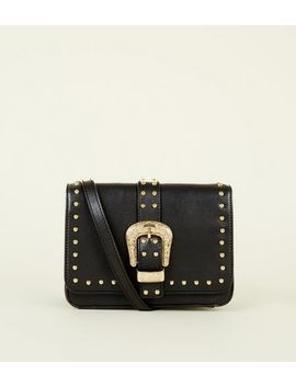 Black Western Buckle Cross Body Bag by New Look