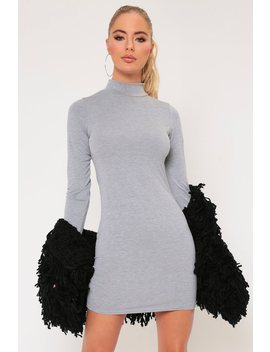 Grey Long Sleeve High Neck Bodycon Mini Dress by I Saw It First