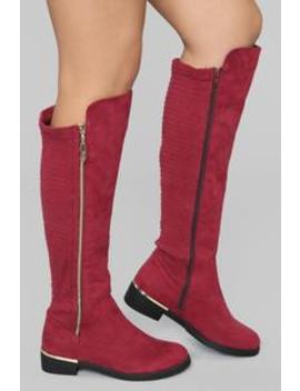 Hollace Boot   Wine by Fashion Nova