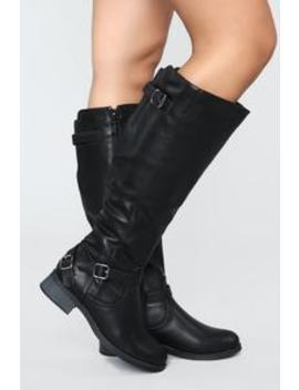 Hit The Highway Flat Boot   Black by Fashion Nova