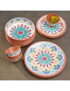 Bungalow Rose Adah 16 Piece Melamine Dinnerware Set, Service For 16 & Reviews by Bungalow Rose