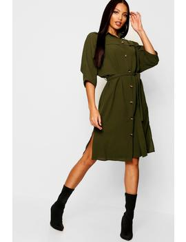 Horn Button Oversized Midaxi Shirt Dress by Boohoo
