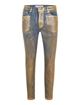 Gold Coated Stretch Skinny Jeans by Topman