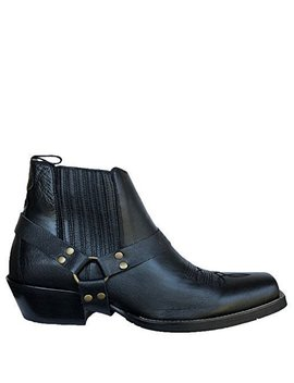 Brunello's Silverado Men's Western Boot With Square Toe  Low Cut In Napa Black by Amazon