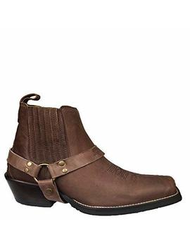Brunello's Silverado Men's Leather Square Toe Western Boot With Low Cut In Camel Fossil by Amazon