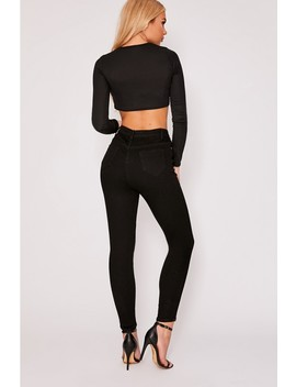 Zaney Black Denim High Waisted Skinny Jeans by In The Style