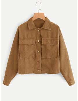 Corduroy Dual Pocket Jacket by Romwe