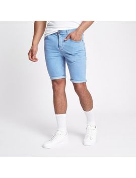 Light Blue Skinny 90s Denim Shorts by River Island