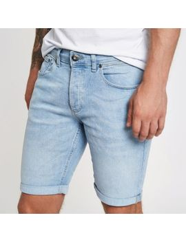 Light Blue Skinny Denim Shorts by River Island