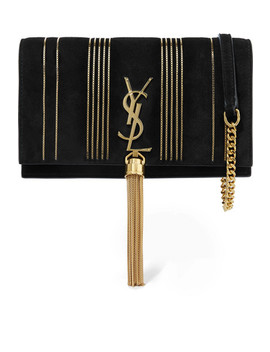 Monogramme Kate Small Embellished Suede Shoulder Bag by Saint Laurent