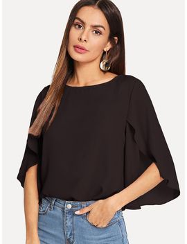 Slit Bell Sleeve Top by Shein