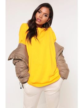 Mustard Basic Short Sleeve Oversized T Shirt by I Saw It First