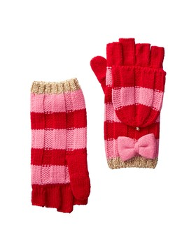 Metallic Stripe Bow Detailed Mittens by Kate Spade New York