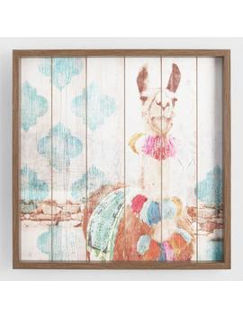 Happy Llama Framed Print On Wood Wall Art by World Market