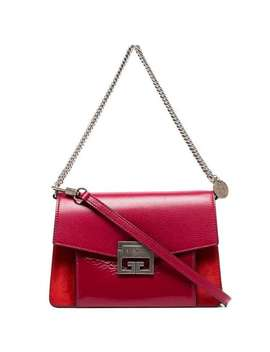 Cherry Red Gv3 Leather Shoulder Bag by Givenchy