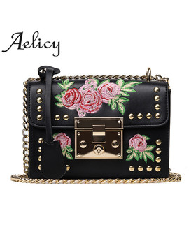 Aelicy Women Embroidered Flower Flap Bag Fashion Designer Pu Leather Chains Messenger Bag Ladies Small Shoulder Bag Bolsos Mujer by Aelicy