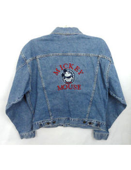 Vintage 90s Disney Store Mickey Mouse Embroidered Denim Jean Jacket Adult M 42 by Ebay Seller