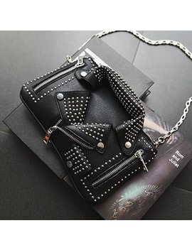 2018 Women Bags Designer Clutch Fashion Rivet Motorcycle Shoulder Bag New Summer Fashion Handbag Chain Crossbody Jacket Bag 827 by Joeaztas
