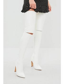 White Slashed Detail Over The Knee Boot by Missguided