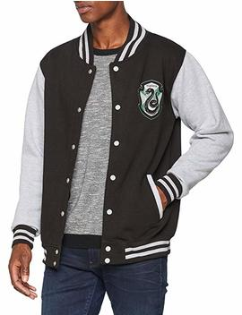 Officially Licensed Harry Potter Slytherin Crest Black And Grey Varsity Jacket by Harry Potter