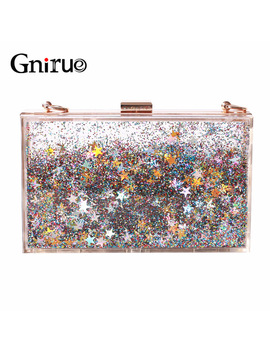 Transparent Rectangular Liquid Quicksand Acrylic Clutch Evening Bag Women Shoulder Bags Sequins Star Party Clear Purse Handbag by Gnirue