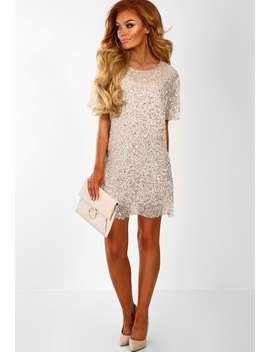 Dazzle And Shine Champagne Sequin Mini Shift Dress by Pink Boutique