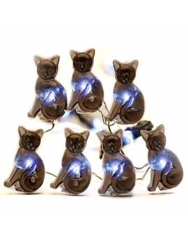 Impress Life Halloween Party String Lights, Black Cat Shape 10 Ft Silver Wire 40 Le Ds Battery Operated With Dimmer Remote & Timer For Indoor, Covered Outdoor, All Saints' Eve Parties, Mantle Fireplace by Impress Life