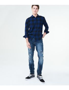 Flex Effects Super Skinny Medium Wash Destroyed Jean by Aeropostale