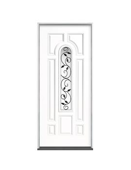 36 In. X 80 In. Pergola Center Arch Right Hand Inswing Primed Steel Prehung Front Door No Brickmold by Masonite