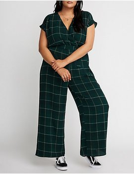 Plus Size Glen Plaid Wide Leg Jumpsuit by Charlotte Russe