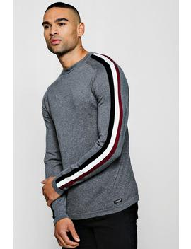 Muscle Fit Jumper With Jacquard Side Stripe by Boohoo