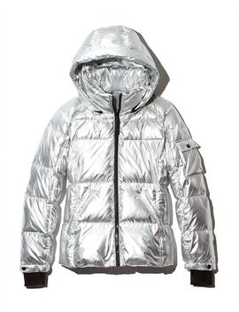 Metallic Hooded Puffer Jacket   100 Percents Exclusive by Aqua