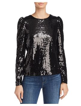 Puff Sleeve Sequined Top   100 Percents Exclusive by Aqua