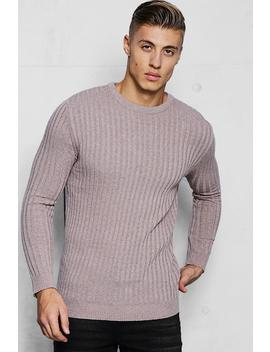 Muscle Fit Ribbed Crew Neck Jumper by Boohoo