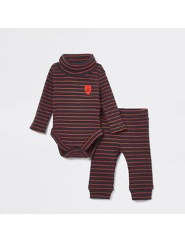 Baby Navy Stripe Roll Neck Babygrow Outfit by River Island